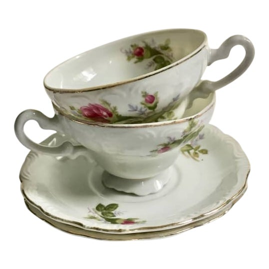 Footed Moss Rose Bone China Tea Cups - Service for 2 For Sale