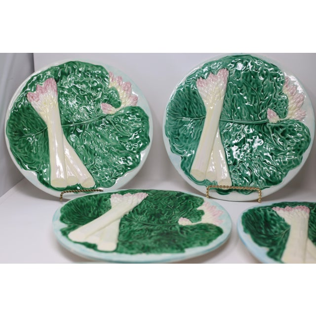 1980s Vintage 1984 Majolica Cabbage and White Asparagus Plates - Set of 7 For Sale - Image 5 of 10