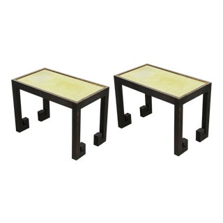 Distressed Greek Key Tables With Brass Metal Inset - Pair For Sale