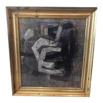 1950's Black and White Abstract With 19th Century Gilt Frame by Artist Benoit Gilsoul For Sale