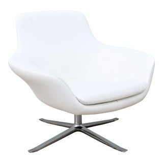 Modern Pearson Lloyd for Coalesse Bob White Leather Swivel Lounge Chair For Sale