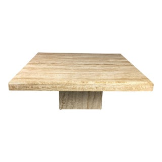 1970s Italian Travertine Square Pedestal Coffee Table For Sale