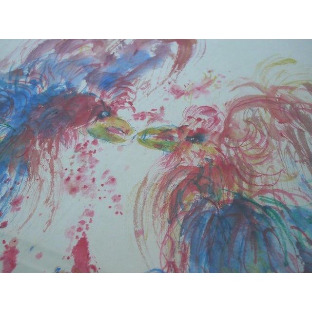 """Samuel Reindorf Watercolor """"Round One (Cockfight)"""" - Image 3 of 4"""
