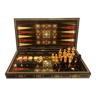 Geometric Backgammon Checkers Chess Game Set For Sale