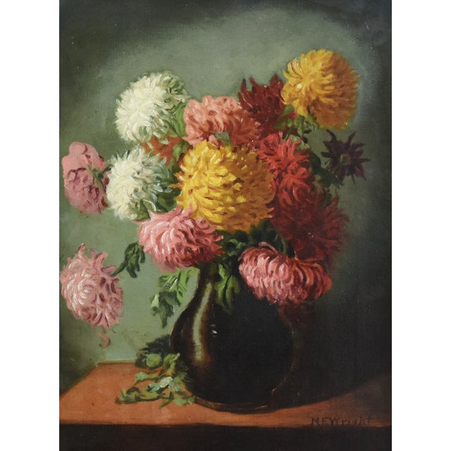 Mid 20th Century M E Wright Chrysanthemum in Vase Framed Floral Oil Painting For Sale - Image 5 of 10