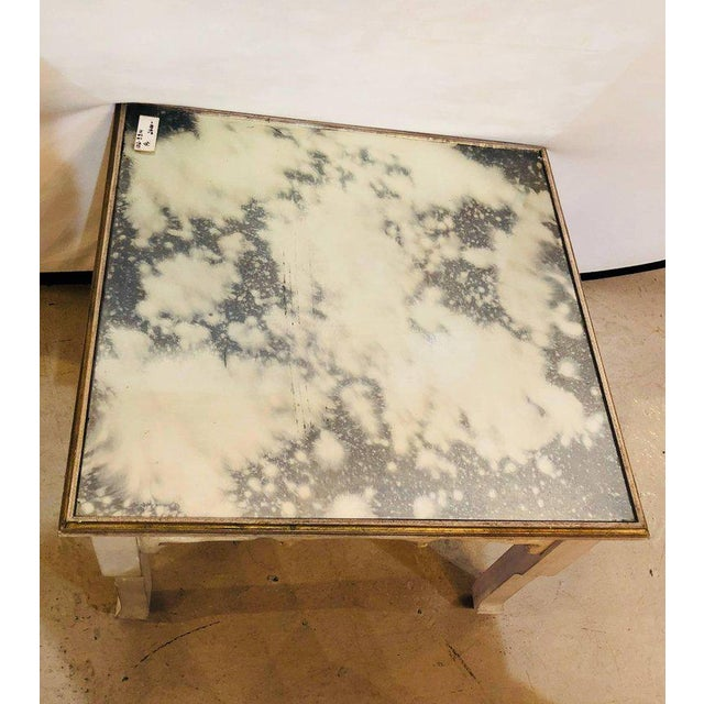 Hollywood Regency Distressed Mirror Glass Top Squared Asian Style End Tables Stamped Jansen, Pair For Sale - Image 3 of 13