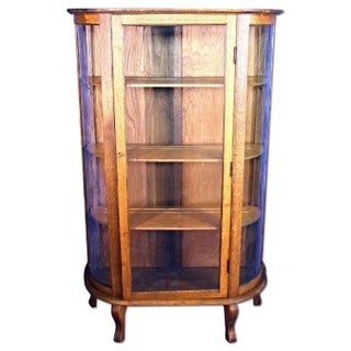 Antique Victorian Oak Display Cabinet For Sale
