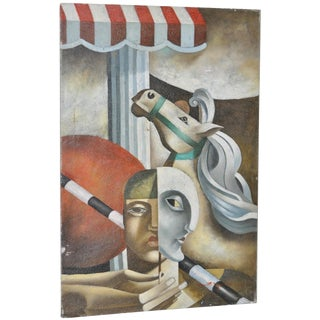 Vintage Surreal Cubism Oil Painting by Mystery Artist