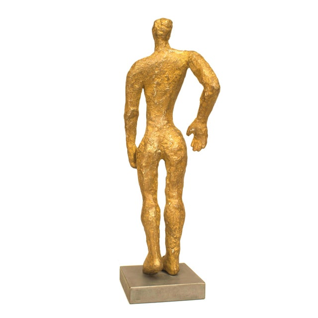 "Figurative American Carol Bruns Gold Patinated Bronze ""Exiting Man"" Sculpture C. 2000 For Sale - Image 3 of 6"