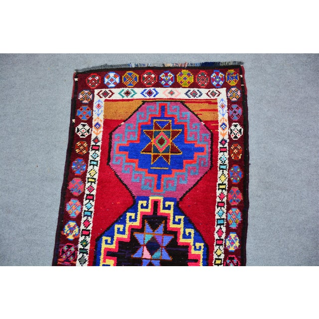 Kurdish Colorful Hand-Knotted Wool Runner Rug For Sale - Image 4 of 9