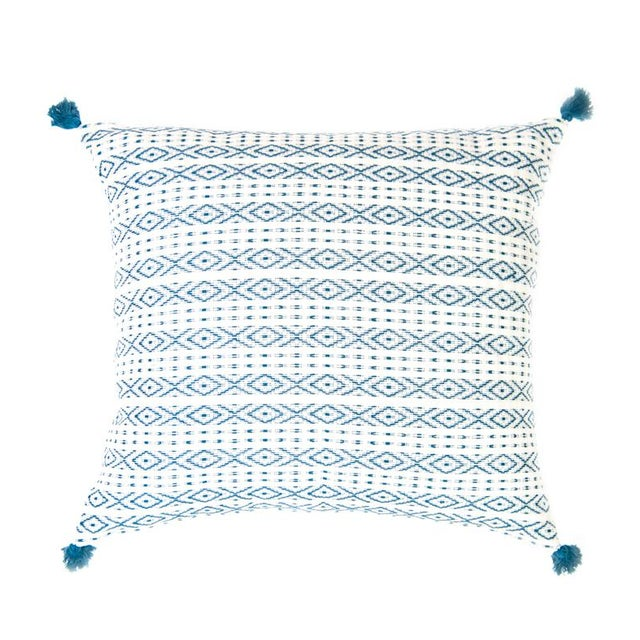 Teal Handwoven Mexican Pillows - Set of 3 For Sale In Austin - Image 6 of 6