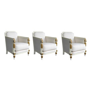 A Stylish French Art Deco Set of 3 Ivory Painted and Parcel-Gilt Club Chairs For Sale