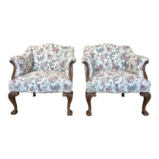 George III Style Lounge Chairs - a Pair For Sale