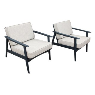 Mid Century Painted Navy Lounge Chairs - a Pair For Sale