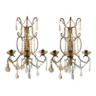 Venetian Three-Arm Mirror Back Wall Sconces - a Pair For Sale