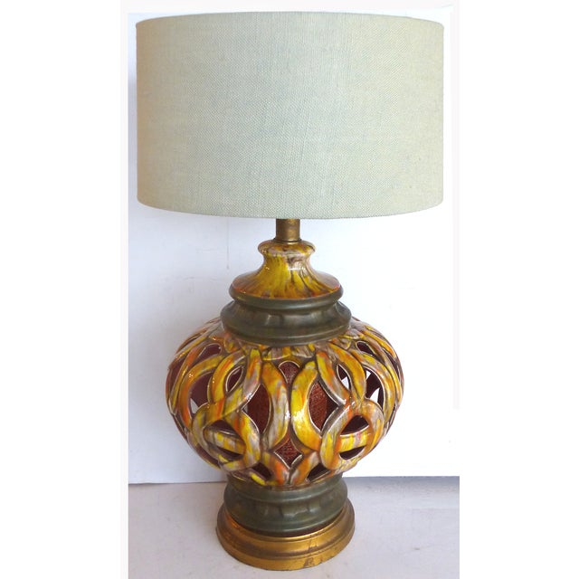 Yellow 1960s Pierced Ceramic Table Lamps - A Pair For Sale - Image 8 of 8