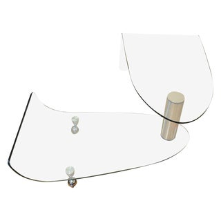 Fiam Italia Articulating Glass Swivel Coffee Table For Sale