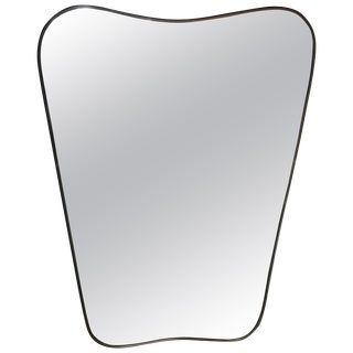 Italian Minimal Curvilinear Brass Mirror, 1950s For Sale
