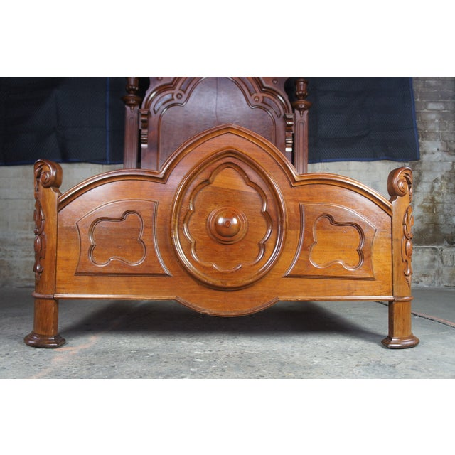 Antique Victorian Carved Walnut Highback Full Bedframe For Sale - Image 12 of 13