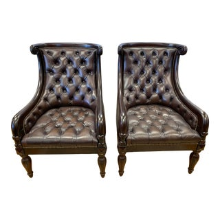 Brown Tufted Leather Arm Chairs- a Pair For Sale