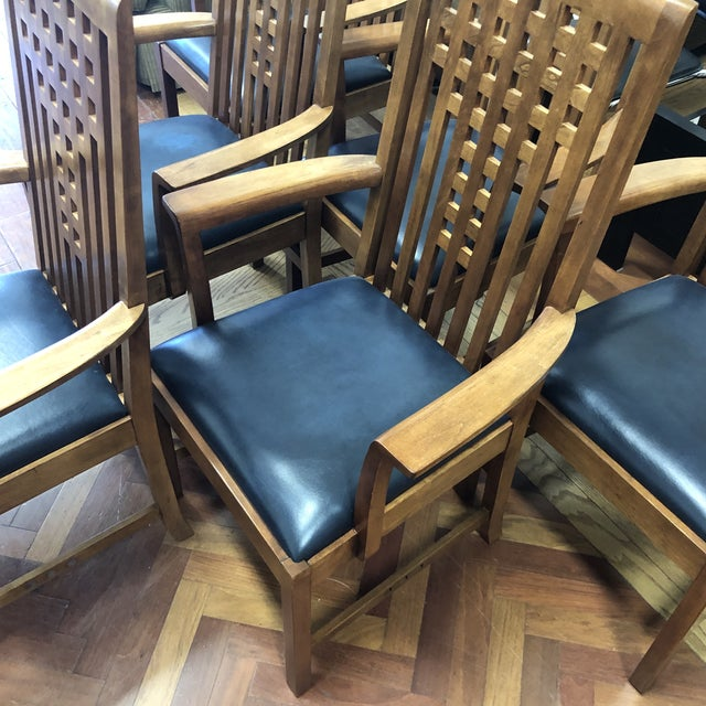Stickley Furniture Metropolitan Collection Lattice Back + Leather Armchairs- Set of Six For Sale - Image 9 of 13