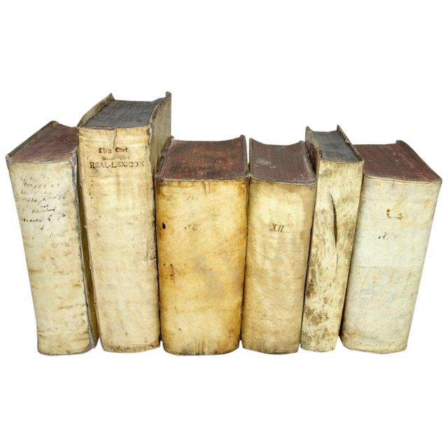 Mid 18th Century Antique Vellum Books Collection- Set of 6 For Sale