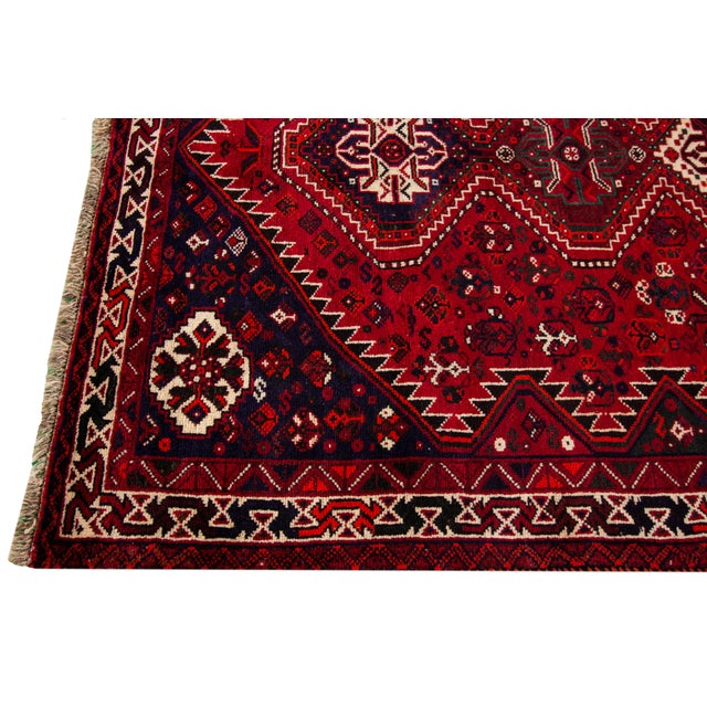 """Mid 20th Century Vintage Persian Shiraz Rug, 5'6"""" X 8'9"""" For Sale - Image 5 of 9"""