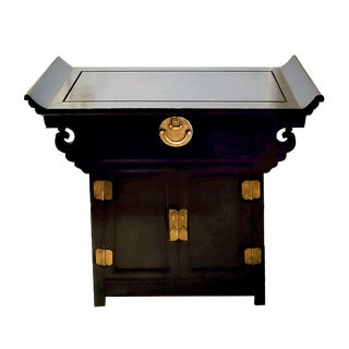 19th Century Chinese Ming Dynasty Ebonized Wooden Butterfly Altar Aka Console Sideboard For Sale