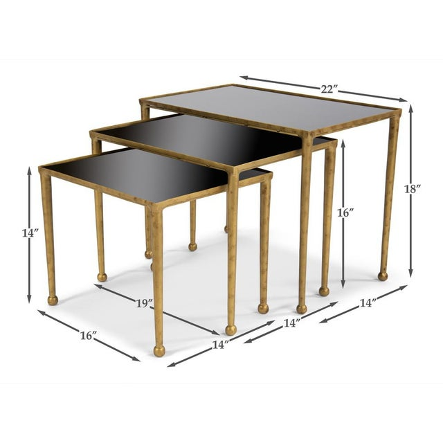 Metal Trio Of Gilt Metal Nesting Tables - Set of 3 For Sale - Image 7 of 8