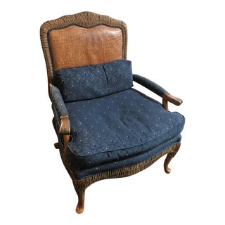 Alligator and Navy Bergere Chair For Sale