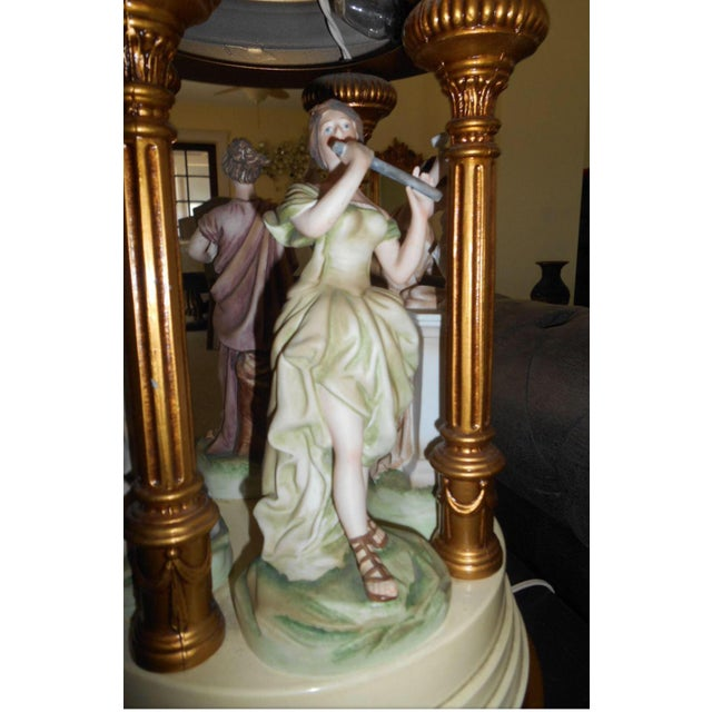 Metal French Dresden Style Porcelain Figurine Lamp For Sale - Image 7 of 8