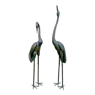 Pair of 1970's Life Size Bronze Japanese Whooping Cranes For Sale