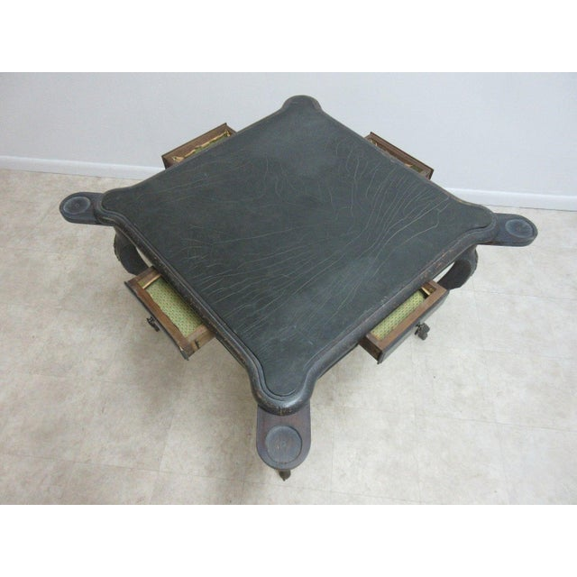 Antique Italian Regency Carved Leather Top Game Table For Sale - Image 4 of 9