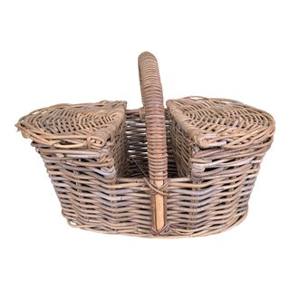 Natural Wicker Rattan Basket With Handle For Sale