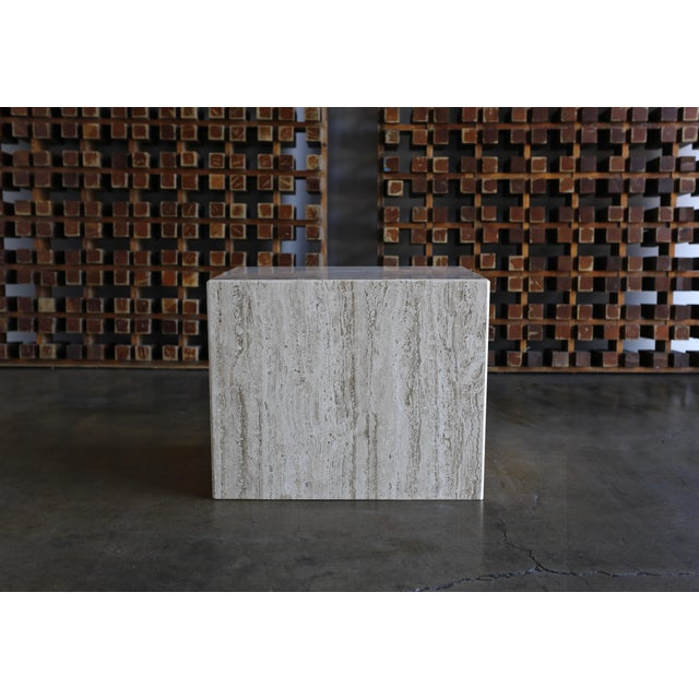 1975 Mid-Century Modern Travertine Pedestal or Side Table For Sale - Image 12 of 13