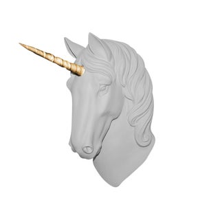 "Wall Charmers ""The Luna"" Faux White + Gold Horn Magical Unicorn Head Wall Hanging For Sale"