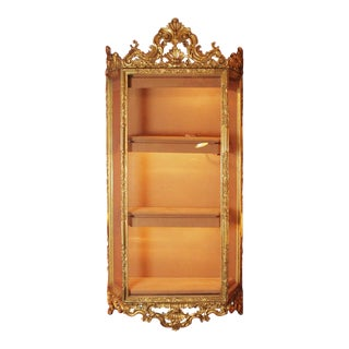 1910s Louis XVI Venetian Gold Wall Hanging Cabinet Vitrine For Sale