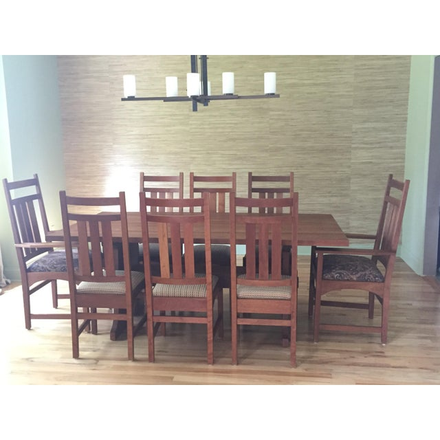 Stickley mission cherry dining table 8 chairs chairish stickley mission cherry dining table 8 chairs image 2 workwithnaturefo