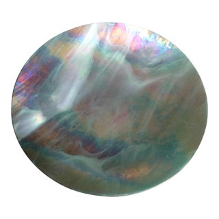 Vintage Amingo Aqua Opalescent Glass Plate For Sale