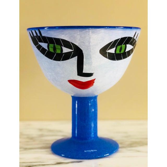 Glass Ulrica Hydman-Vallien Kosta Boda Hand-Painted Face Vase For Sale - Image 7 of 7