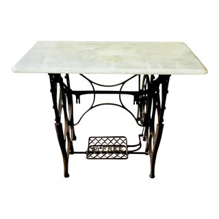 Vintage Console Table Marble on Sewing Machine Base
