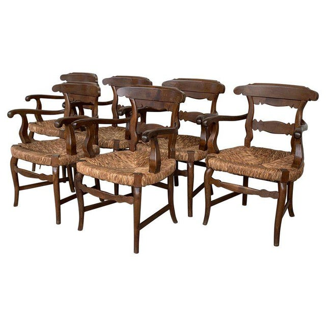 About 19th century set of four armchairs with straw seat very comfortable. Dining Armchairs ****THIS ITEM IT WILL BE READY...