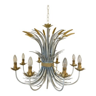 Late 20th-Century Tole Wheat Sheaf Chandelier For Sale