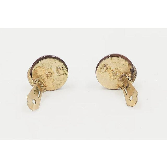 Gold 1950s Napier Brown Moonglow Textured Earrings For Sale - Image 8 of 9