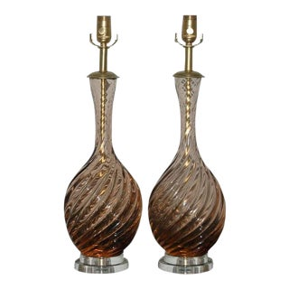 Marbro Murano Glass Table Lamps in Peach Tea For Sale
