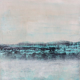 """""""Aquarius"""" Contemporary Abstract Coastal Landscape Acrylic Painting For Sale"""
