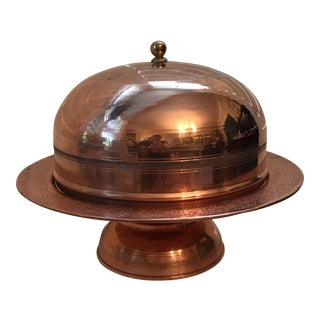 1940s Early American Copper Cake Pedestal and Dome