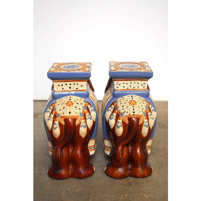 Ceramic Elephant Garden Stools or Drink Tables - A Pair - Image 8 of 11