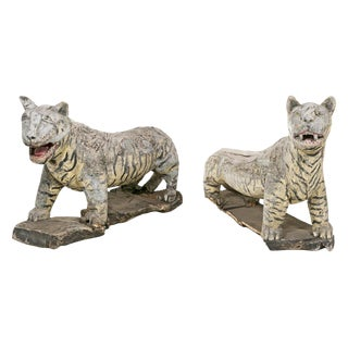 Rustic South East Asian Wooden Life Size Tiger Sculptures - A Pair For Sale