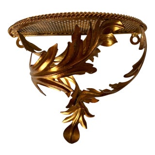 Vintage Italian Gilt Tole Metal Acanthus Leaf Wall Bracket For Sale